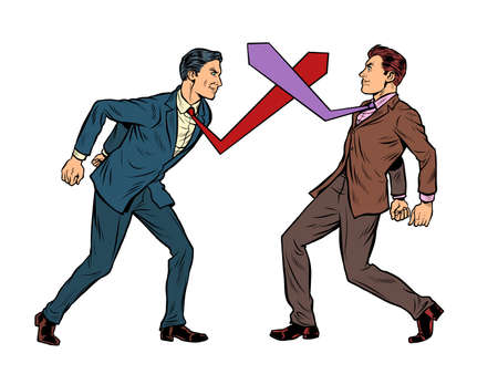 Business competition duel, businessmen fight with ties