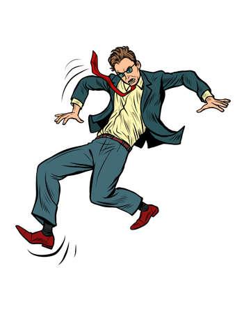 the man falls. slippery. businessman with a problem Çizim