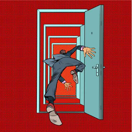 A male businessman falls through the door Çizim