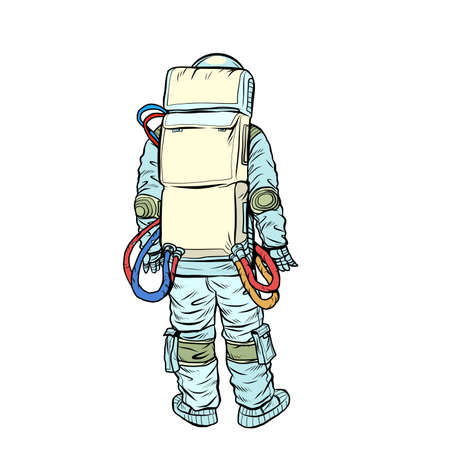 Astronaut stands with his back