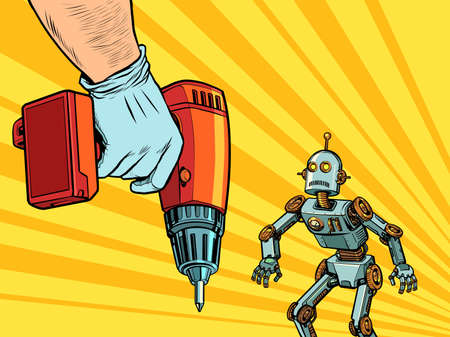 Repair of robotics concept. The robot and the drill