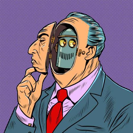 An man disguises himself as a human robot