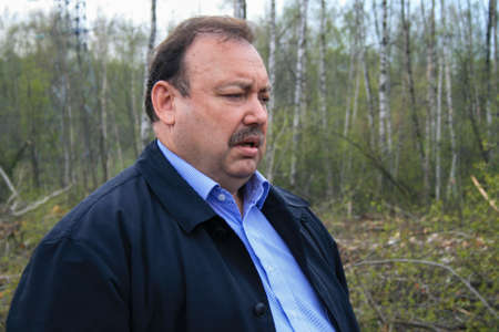 Politician deputy Gennady Gudkov at the site of the deforestation of the Khimki forest