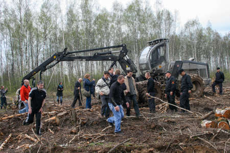 Inspection of the defenders of the Khimki forest to the place of illegal logging