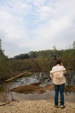 Environmental politician Yevgenia Chirikova at the site of the deforestation of the Khimki forest Редакционное