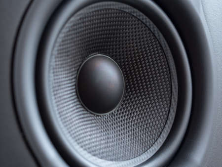 Closeup view of studio monitor speaker