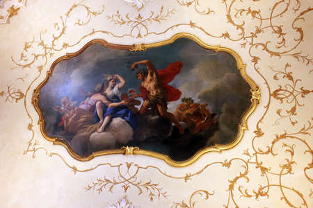 frescoed: example of Italian art: frescoes and stucco in 1777 Stock Photo