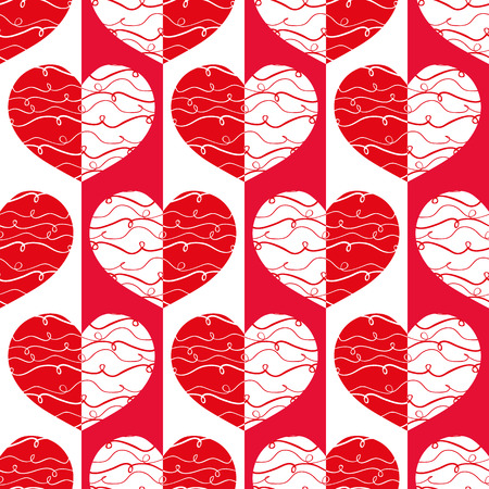 Funky red and white reflected hearts with doodle lines on striped geometric background as seamless vector pattern. Great for Valentine's themed giftwrap, scrapbooking and commercial projects.