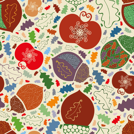 Vector lively vibrant orchard apples, acorns and leaves seamless pattern background in ornamental folk art style. Perfect for fabric, scrapbooking, giftwrap, stationary, thanksgiving Vectores