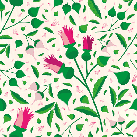 Elegant vibrant floral pattern in hues of pink and green on a soft textured background. Seamless sophisticated vector design Perfect for stationery, textiles, home decor, giftwrapping and packaging.