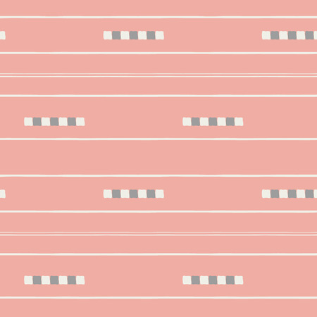 Sophisticated white and soft brown hand drawn tiles and stripes on vibrant coral background. Seamless vector pattern in fresh modern style. Perfect for stationery, textiles, home decor, giftwrapping.