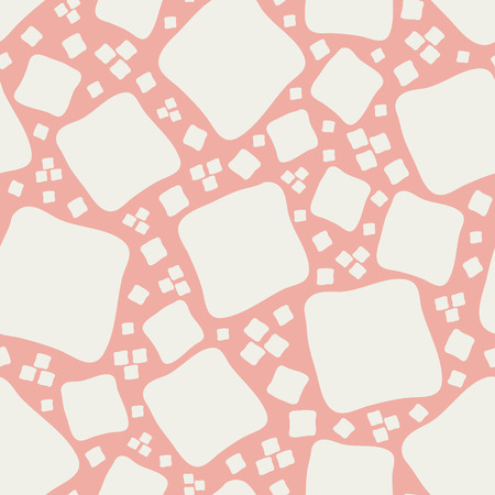 Vibrant mosaic style design with hand drawn white squares on coral background. Seamless vector pattern in organic, modern style. Perfect for stationery, textiles, home decor, giftwrapping, packaging.