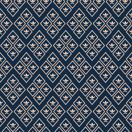 Luxurious gold geometric Fleur de Lys luxury design. Seamless rhombus vector pattern on deep blue background. Perfect for men s fashion, stationery, fabrics, textiles, home decor, giftwrapping Illustration