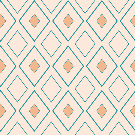Classic gold and light blue rhombus geometric design. Seamless vector pattern on neutral cream background. Great for stationery, packaging, fabrics, textiles, home decor, giftwrap.
