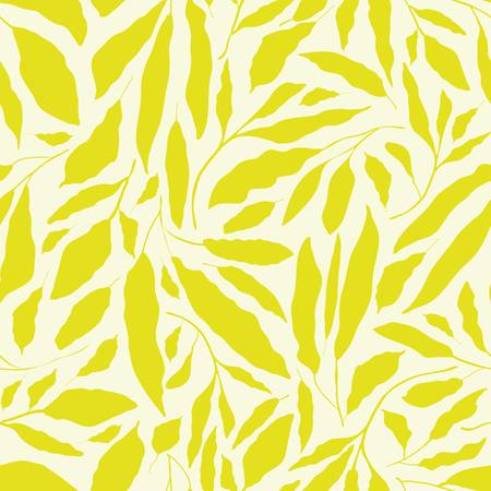 Vibrant lime green hand drawn leaves on neutral cream background. Seamless vector design with a fresh organic feel. Great for wellbeing, spa, beauty products, packaging, giftwrap,fabric, stationery.
