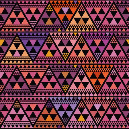 Vibrant boho style triangle repeat pattern vector design on black background. Great for luxury, wellbeing, yoga, beauty products, home decor, gift wrap, stationery, packaging.