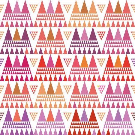 Fresh pink, purple and orange boho style triangle clusters. Repeat vector pattern on white background with summer vibe. Great for wellbeing, yoga, beauty products, gift wrap, stationery, packaging Vektorové ilustrace