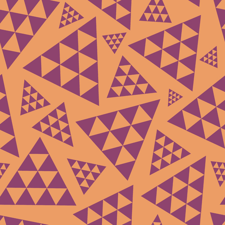 Orange and purple random triangle repeat vector pattern. Modern lively boho vibe. Great for yoga, beauty products, home decor, gift wrap, stationery, packaging.