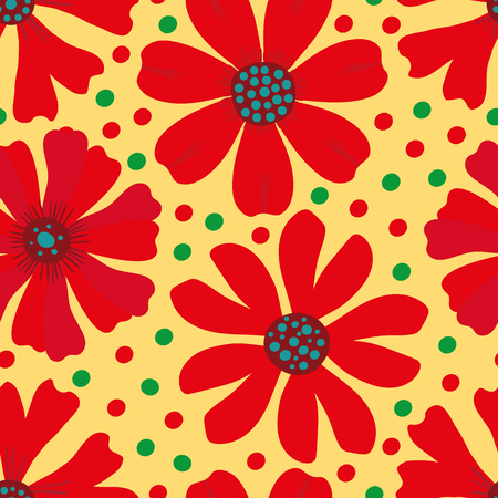 Hand drawn red, green and blue blooming flowers on yellow green polka dot background. Seamless vector pattern. Great for wellbeing, yoga, organic, garden products, home decor gift wrap, stationery.