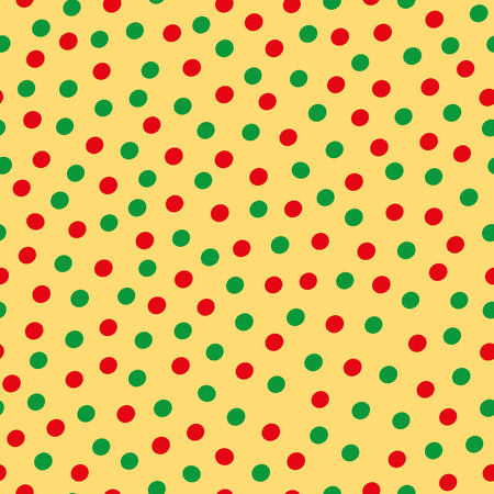 Green and red hand drawn scattered polka dot pattern on yellow background. Seamless vector design with modern vibe. Great for wellbeing, yoga, organic, gardening, food packaging, giftwrap, stationery.