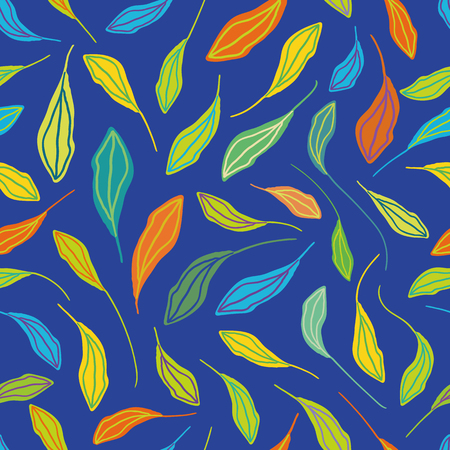 Individually hand drawn leaves in multicolor pattern. Seamless vector repeat on blue background. Fresh happy vibe. Great for wellbeing, organic, gardening products, homedecor, giftwrap, stationery.