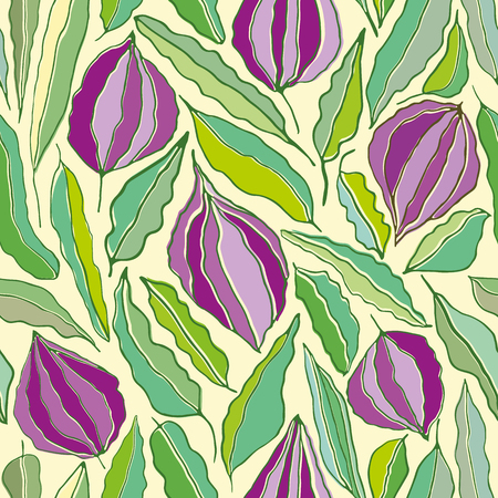 Hand drawn line art flowers and leaves in hues of purples and greens. Seamless vector repeat in screenprint art style. Great for wellbeing, organic, gardening products, homedecor, giftwrap stationery