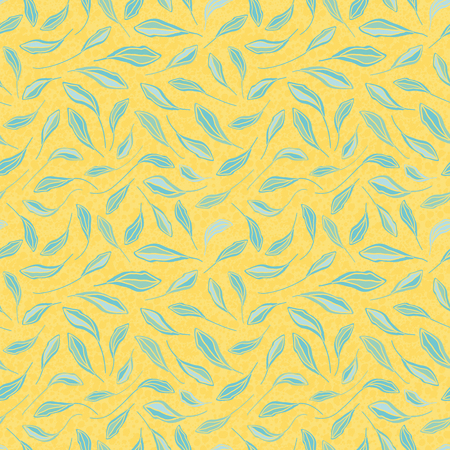 Light blue hand drawn leaves on textured yellow background. Seamless vector repeat pattern with modern fresh vibe. Great for wellbeing, organic, beauty, spa products, homedecor, giftwrap, stationery.