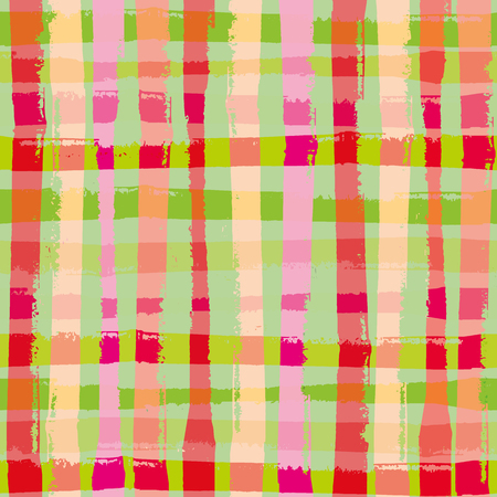 Vibrant modern grunge check in tropical colours. Bright seamless vector pattern with summer vibe. Great for wellbeing, party, organic, beauty, food, spa products, fabric, giftwrap, stationery