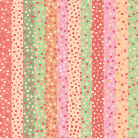 Modern hand drawn confetti dots on multicolor striped background in soft tropical colours. Bright seamless vector pattern. Great for wedding, wellbeing, organic, beauty, spa, giftwrap, stationery Illustration
