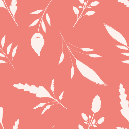 Hand drawn white brush stroke leaves on coral pink background. Seamless vector pattern with a calm spacious feel. Great for wellbeing, organic, beauty, spa products, fabric, giftwrap, packaging.