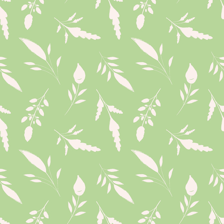 Hand drawn white brush stroke leaves on green background. Seamless vector pattern with a soothing vibe. Great for wellbeing, gardening, organic, beauty, spa products, fabric, giftwrap, stationery.