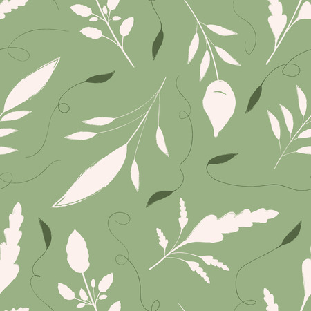 Hand drawn cream and green leaves with ornamental swirls. Seamless vector pattern on warm green background. Great for wellbeing, gardening, organic, beauty, spa products, fabric, giftwrap, stationery.