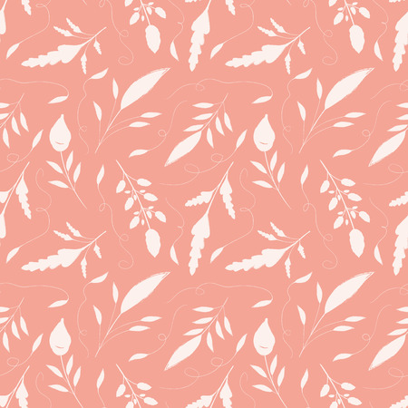 Delicate hand drawn cream leaves with ornamental swirls. Seamless vector pattern on salmon pink background. Great for wellbeing, gardening, organic, beauty, spa products, fabric, giftwrap, stationery. Illustration