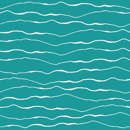 Abstract ocean wave design with hand drawn white doodle lines on turquoise background. Illustration