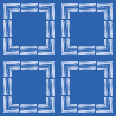 Hand drawn textured brush stroke white squares in geometric design.