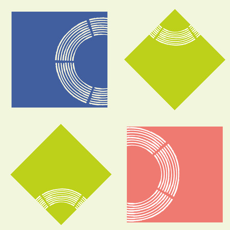 Modern abstract lime, coral and blue squares with brush semi circle texture.