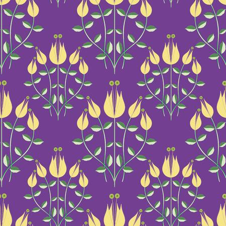 Modern damask style design of stylized yellow flowers on a purple background.