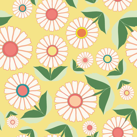 White flowers and green leaves in floral folk art design. Seamless vector pattern on fresh yellow background. Great for spa,wellbeing, garden, organic products, home decor, packaging, stationery.