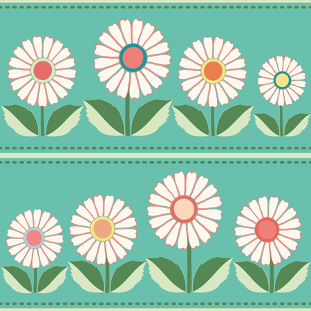 White, orange, yellow floral folk pattern. Seamless vector pattern with horizontal striped stitch on blue background. Great for spa, garden, organic products, home decor, packaging, stationery