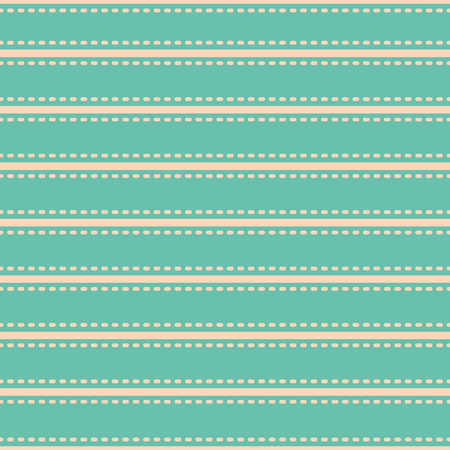 Beautiful vibrant simple horizontal stripe stitch style design. Vector seamless pattern on turquoise background.