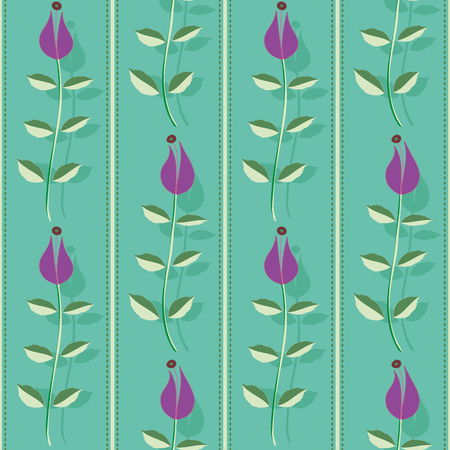 Purple flowers with leaves, stitch stripes and shadow texture. Vertical seamless vector pattern on turquoise background. Great for spa, garden, organic products, home decor, packaging, stationery. Illustration