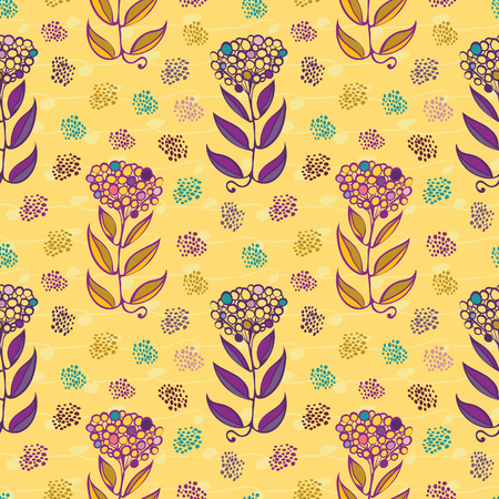 Stylish hand drawn abstract flowers with paint daubs and subtle doodle lines. Seamless vector repeat pattern on yellow background. Great for spa,organic, garden products, home decor, giftwrap. Illustration