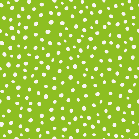 White hand drawn circular paint dots in scattered design. Seamless vector pattern on green background. Great as coordinate, for stationery, giftwrap, wellbeing, natural, organic products, home decor. Illustration