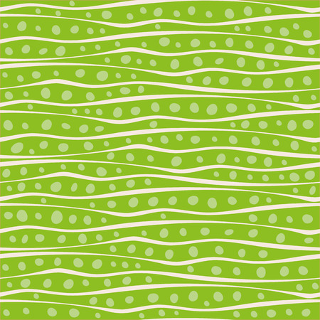 Abstract hand drawn wavy doodle lines and dots design in random placement. Vector seamless pattern on vibrant green background. Great for stationery, giftwrap, wellbeing, natural, organic products
