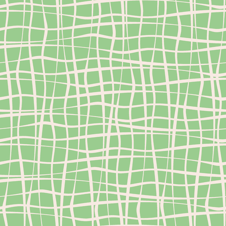 Vertical and horizontal hand drawn uneven crossing white stripes on mint green background. Vector seamless pattern. Great for stationery, giftwrap, wellness, natural, organic products, homedecor.