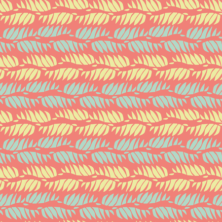 Abstract blue, yellow wavy shapes in horizontal wavy design. Seamless vector pattern on peach pink background. Great for spa, wellness, natural, organic products, home decor, stationery, giftwrap.