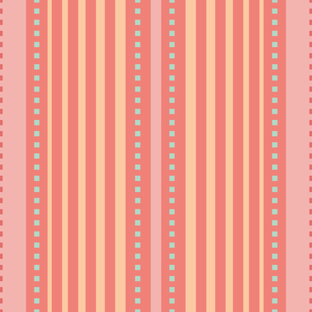 Coral, pink and peach orange vertical striped design with tiny blue squares. Seamless vector seamless pattern. Great for wellbeing, spa, natural, organic products, kitchen decor, stationery, packaging