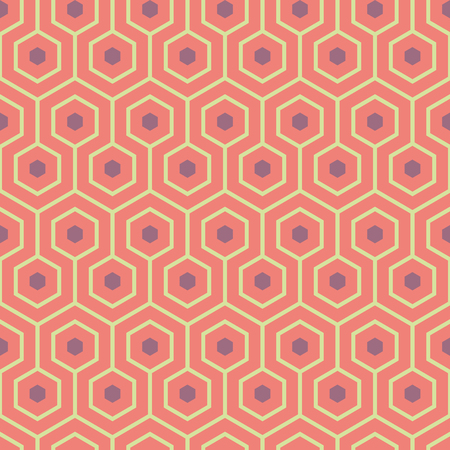 Orange, purple, yellow green meandering geometric hexagons. Seamless vector pattern with hot summer vibe. Çizim