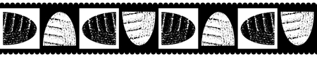 Modern classic seamless vector border of rotated textured bowl shapes with black scalloped edging, black and white background. Great for fabric borders, stationery, beauty, food packaging, washi tape. Illustration