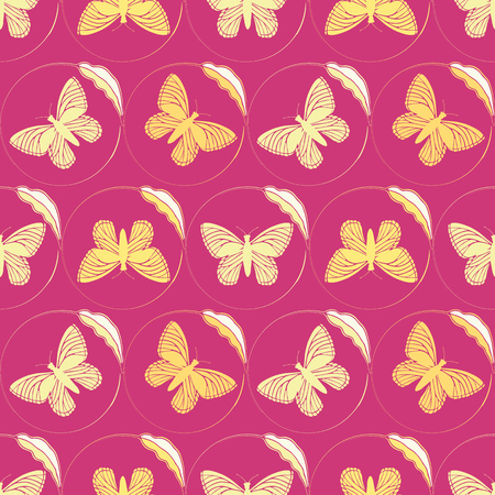Golden yellow butterflies framed by delicate single leaf circles. Seamless hand drawn vector pattern on vibrant pink background. Great for wellbeing, beauty, products, packaging, home decor, giftwrap. Иллюстрация